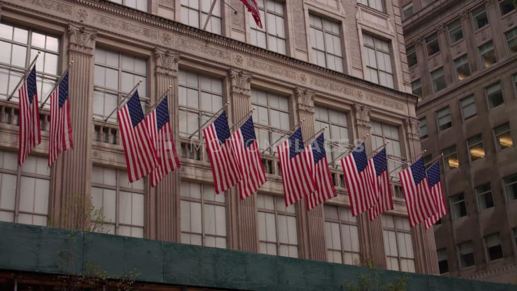 NYC American Flags Stock Footage