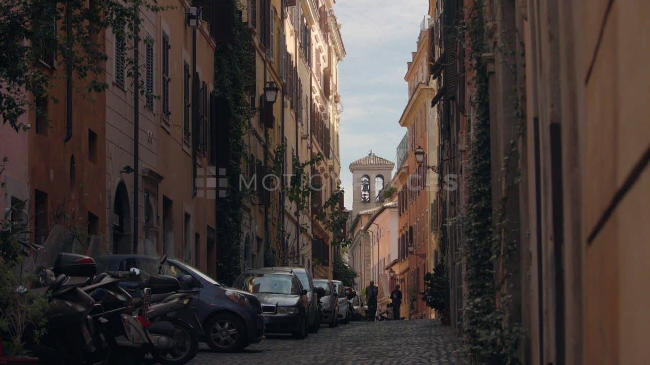 Rome Narrow Street and Campanile Stock Footage