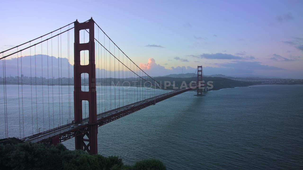Golden Gate Bridge Blue Morning Stock Footage. Download our free HD video footage, or purchase high quality 4K clips. Royalty Free licensing.