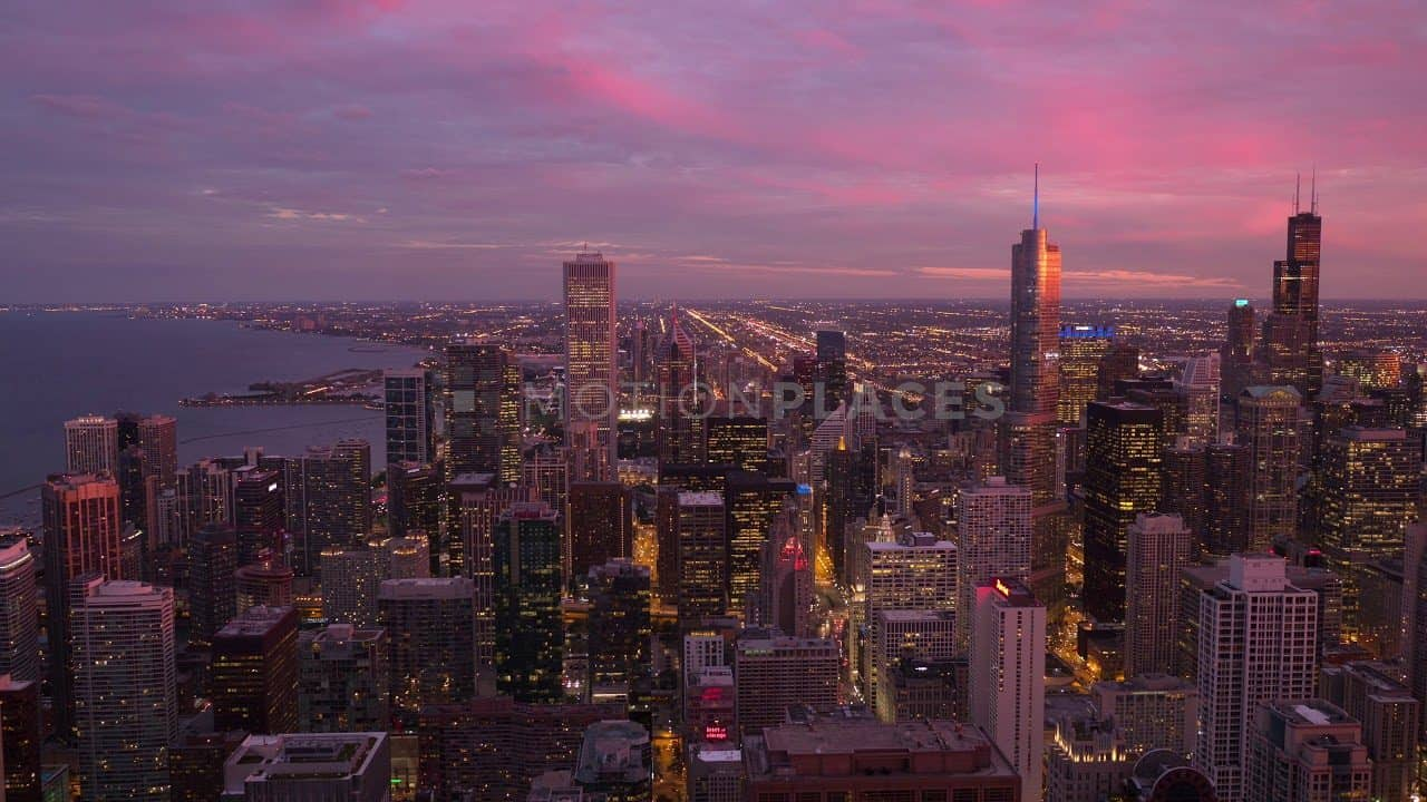 Chicago Skyline Pink Sunset Stock Footage by Motion Places. Download our free HD video footage, or purchase high quality 4K clips. Royalty Free licensing.