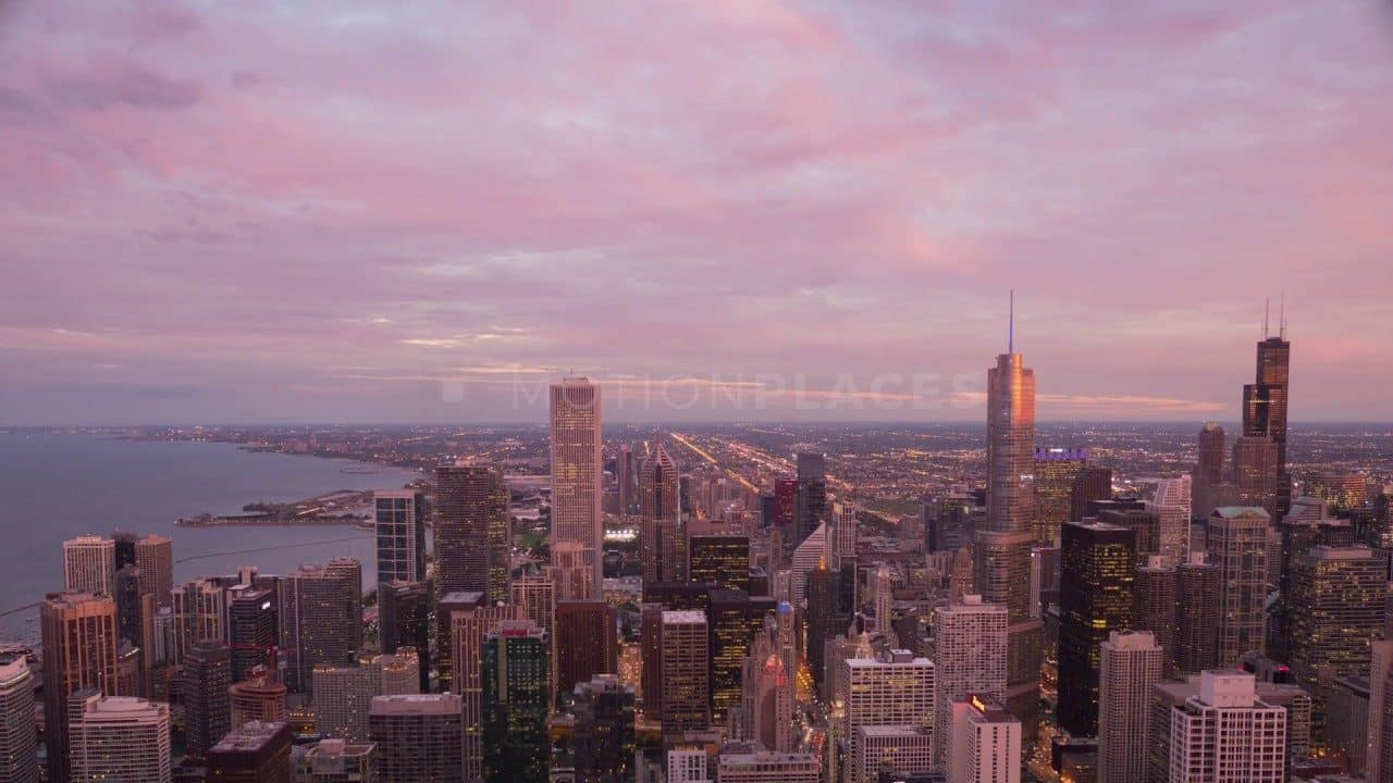 Chicago Sunset Cityscape Stock Footage