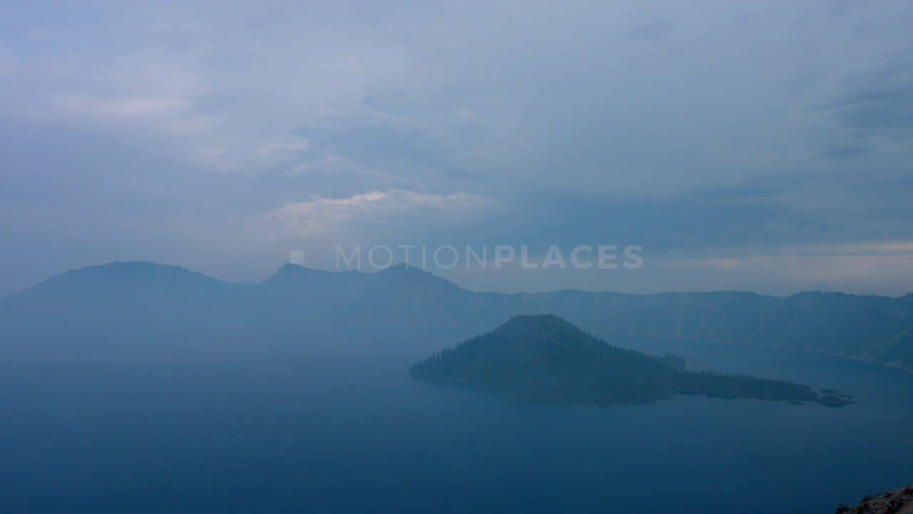 Crater Lake Misty Blue Stock Footage