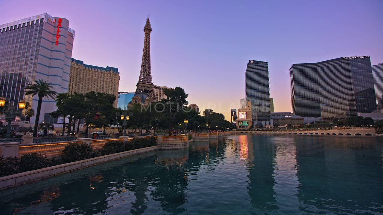 Las Vegas Dusk Reflection Stock Footage Motion Places