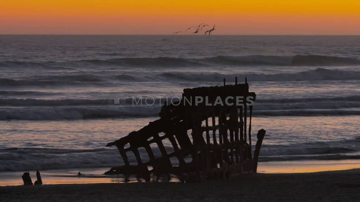 Oregon Coast Shipwreck Sunset Free Stock Footage
