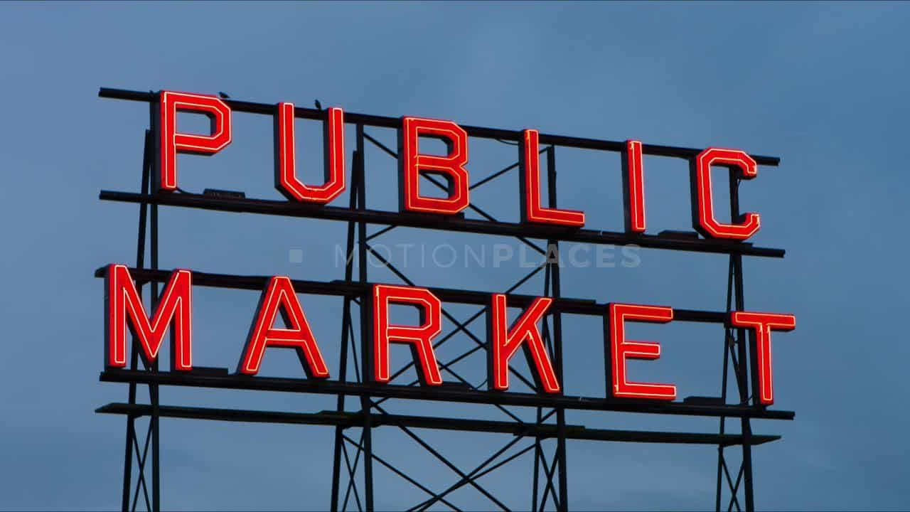Seattle Pike Place Market Sign Stock Footage by Motion Places. Download our free HD video footage, or purchase high quality 4K clips. Royalty Free licensing.