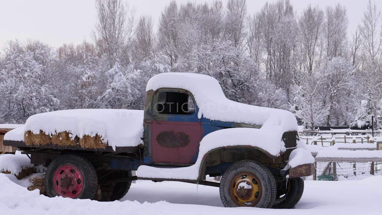 Snow Covered Old Rusty Pickup Stock Footage