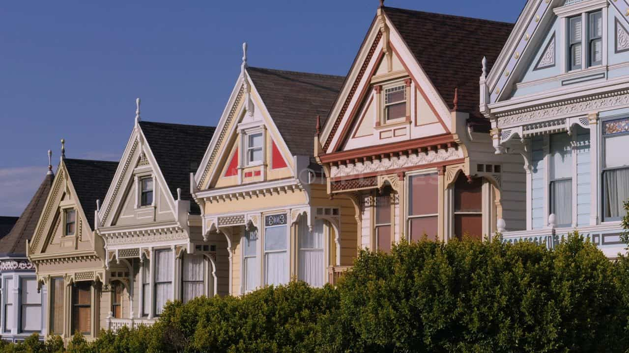 San Francisco Victorian Painted Ladies Free Stock Footage