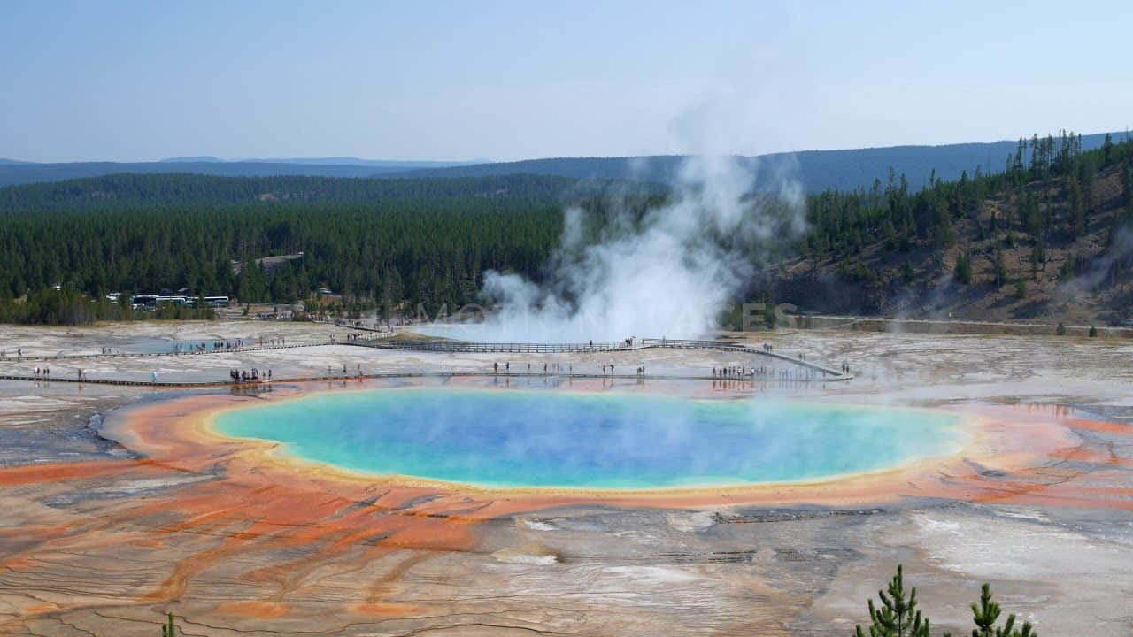 Yellowstone Grand Prismatic Spring Timelapse Stock Footage