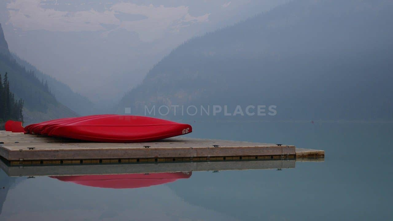 Lake Louise Red Canoes Free Stock Footage